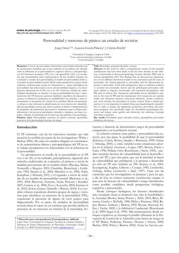 Personalidad y Trastorno de Pánico: Un estudio de revisión