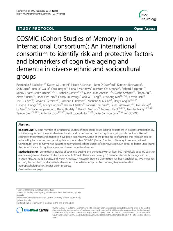 COSMIC (Cohort Studies of Memory in an International Consortium): An international consortium to identify risk and protective factors and biomarkers of cognitive ageing and dementia in diverse ethnic and sociocultural groups