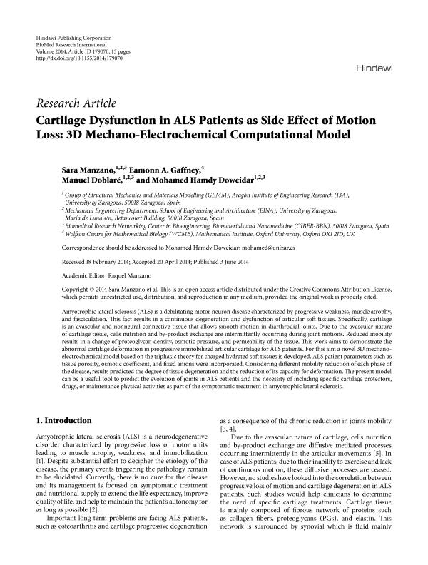 Cartilage Dysfunction in ALS Patients as Side Effect of Motion Loss: 3D Mechano-Electrochemical Computational Model