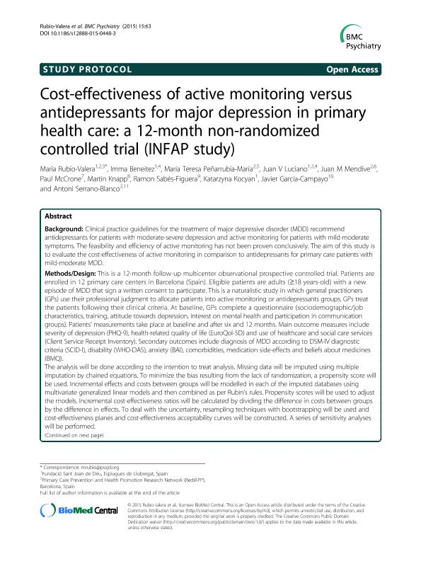 Cost-effectiveness of active monitoring versus antidepressants for major depression in primary health care: A 12-month non-randomized controlled trial (INFAP study)