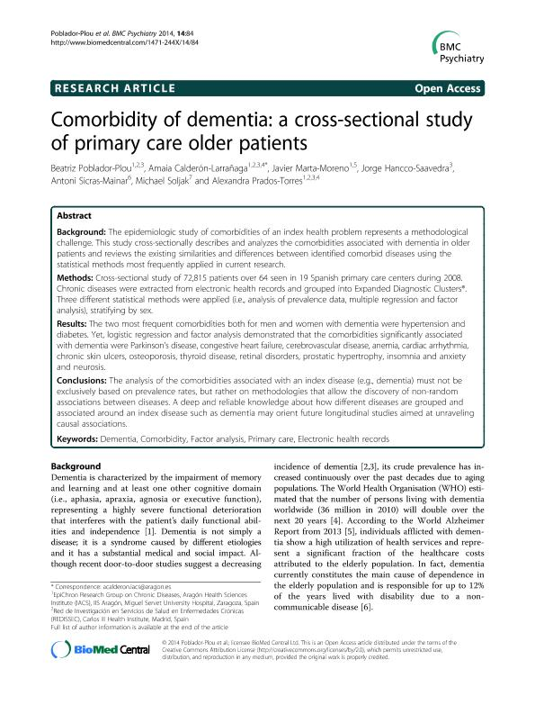 Comorbidity of dementia: A cross-sectional study of primary care older patients