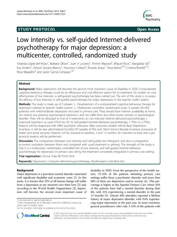 Low intensity vs. self-guided Internet-delivered psychotherapy for major depression: A multicenter, controlled, randomized study