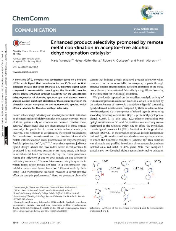 Enhanced product selectivity promoted by remote metal coordination in acceptor-free alcohol dehydrogenation catalysis