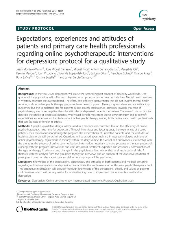 Expectations, experiences and attitudes of patients and primary care health professionals regarding online psychotherapeutic interventions for depression: Protocol for a qualitative study