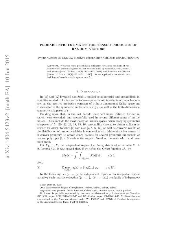 Probabilistic estimates for tensor products of random vectors