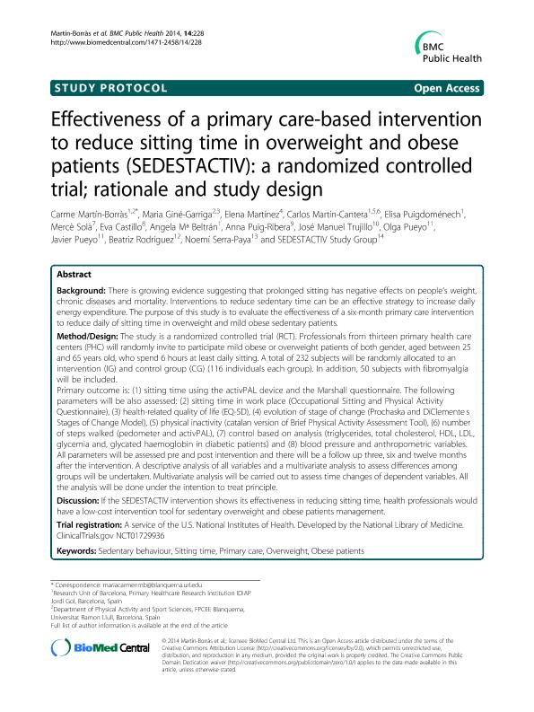 Effectiveness of a primary care-based intervention to reduce sitting time in overweight and obese patients (SEDESTACTIV): a randomized controlled trial; rationale and study design