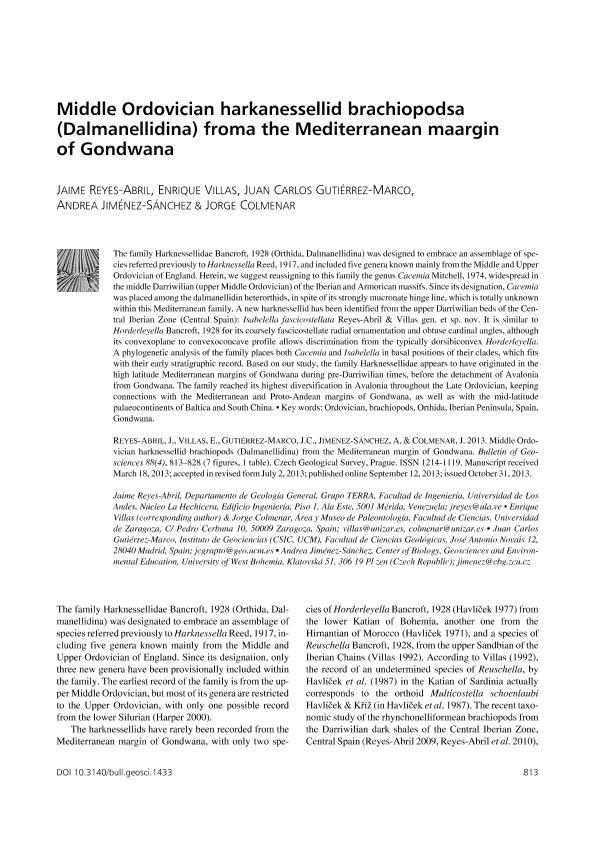 Middle Ordovician harknessellid brachiopods (Dalmanellidina) from the Mediterranean margin of Gondwana