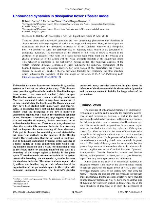 Unbounded dynamics in dissipative flows: Rössler model