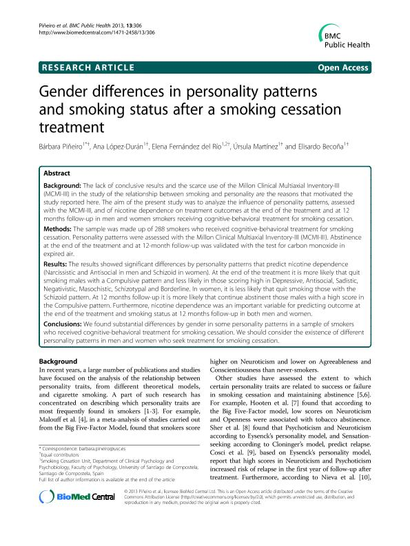 Gender differences in personality patterns and smoking status after a smoking cessation treatment