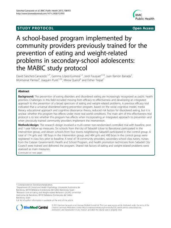 A school-based program implemented by community providers previously trained for the prevention of eating and weight-related problems in secondary-school adolescents: The MABIC study protocol