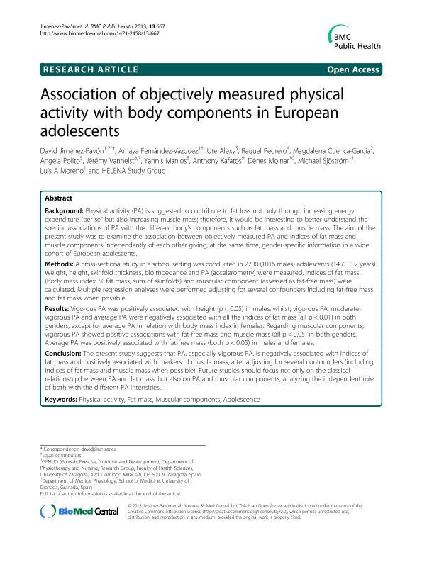 Association of objectively measured physical activity with body components in European adolescents