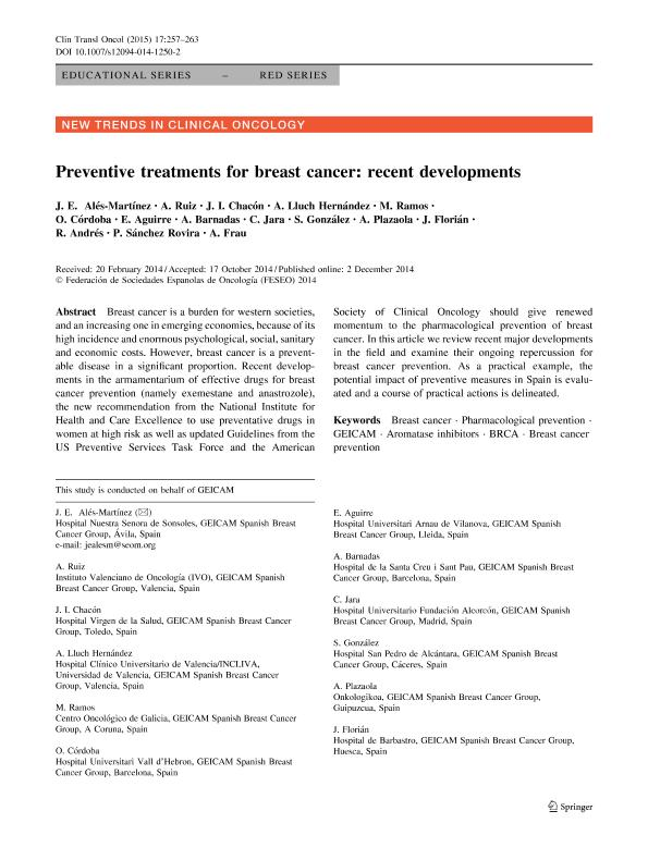 Preventive treatments for breast cancer: recent developments