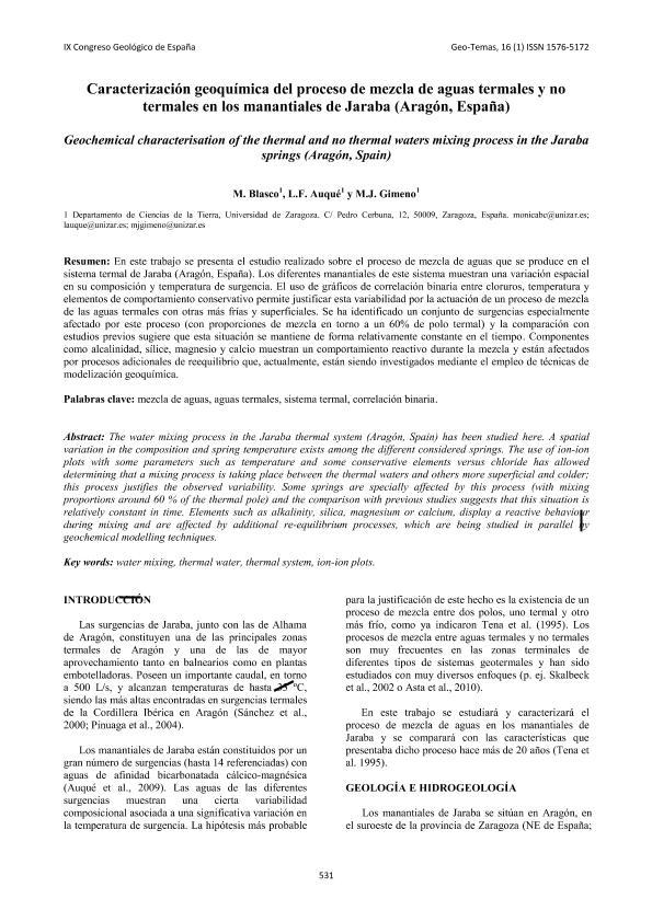 Caracterización geoquímica del proceso de mezcla de aguas termales y no termales en los manantiales de Jaraba (Aragón, España).