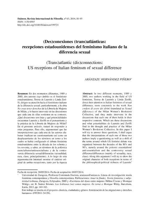 (Des)conexiones (trans)atlánticas: recepciones estadounidenses del feminismo italiano de la diferencia sexual