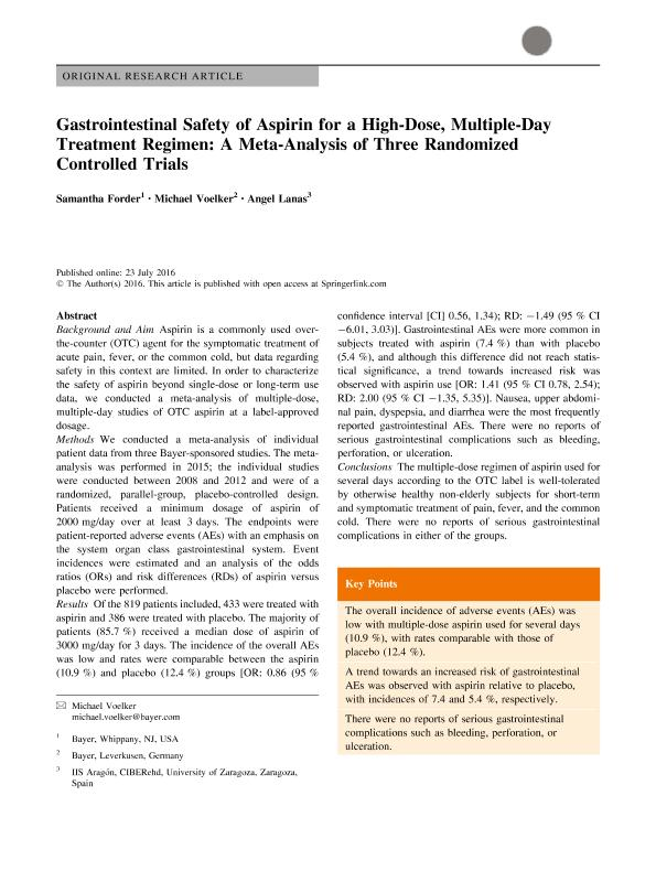 Gastrointestinal Safety of Aspirin for a High-Dose, Multiple-Day Treatment Regimen: A Meta-Analysis of Three Randomized Controlled Trials