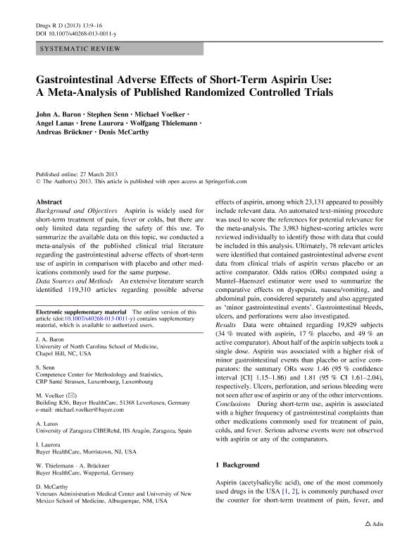 Gastrointestinal adverse effects of short-term aspirin use: A meta-analysis of published randomized controlled trials
