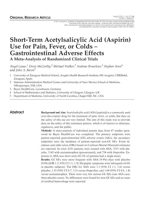 Short-term acetylsalicylic acid (aspirin) use for pain, fever, or colds - Gastrointestinal adverse effects: A meta-analysis of randomized clinical trials