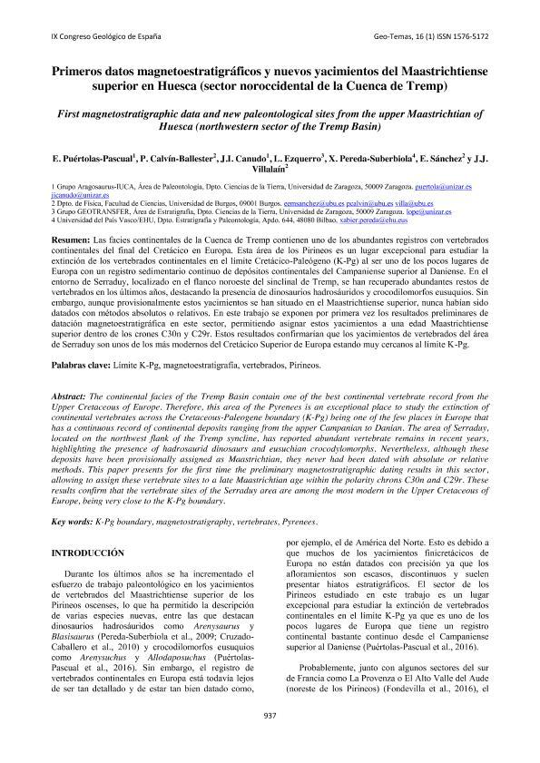 Primeros datos magnetoestratigráficos y nuevos yacimientos del Maastrichtiense superior en Huesca (sector noroccidental de la Cuenca de Tremp).