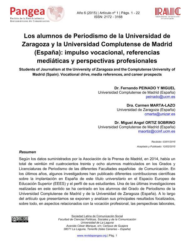 Los alumnos de Periodismo de la Universidad de Zaragoza y la Universidad Complutense de Madrid (España): impulso vocacional, referencias mediáticas y perspectivas profesionales