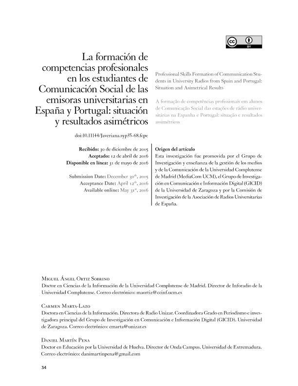 La formación de competencias profesionales en los estudiantes de Comunicación Social de las emisoras universitarias en España y Portugal: situación y resultados asimétricos
