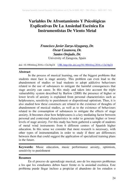 Variables de afrontamiento y psicológicas explicativas de la ansiedad escénica en instrumentistas de viento metal