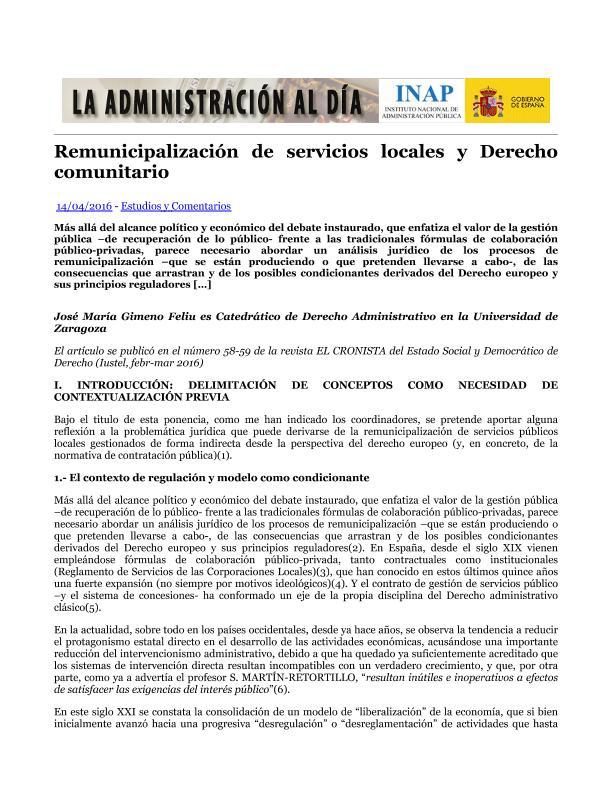 Remunicipalización de servicios locales y Derecho comunitario