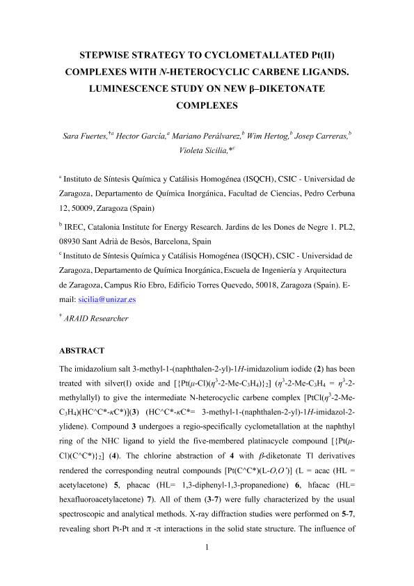 Stepwise strategy to cyclometallated PtII complexes with N-heterocyclic carbene ligands: A luminescence study on new ß-diketonate complexes