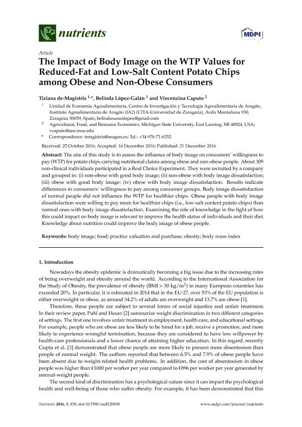 The impact of body image on the WTP values for reduced-fat and low-salt content potato chips among obese and non-obese consumers