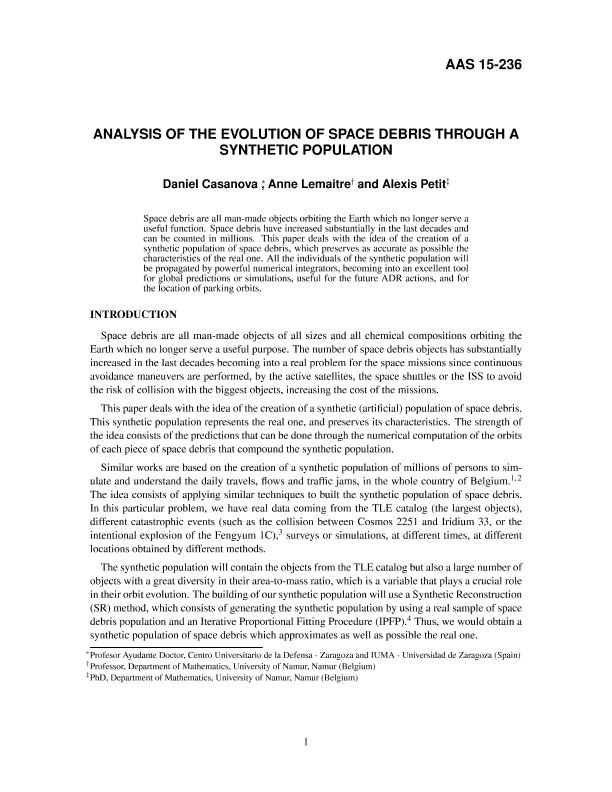 Analysis of the evolution of space debris through a synthetic population
