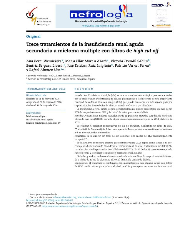 Trece tratamientos de la insuficiencia renal aguda secundaria a mieloma múltiple con filtros de high cut off