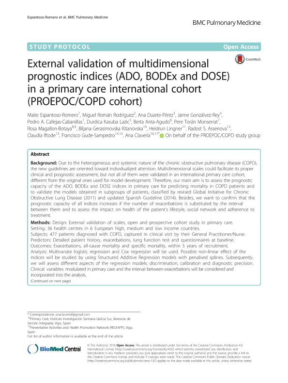 External validation of multidimensional prognostic indices (ADO, BODEx and DOSE) in a primary care international cohort (PROEPOC/COPD cohort)