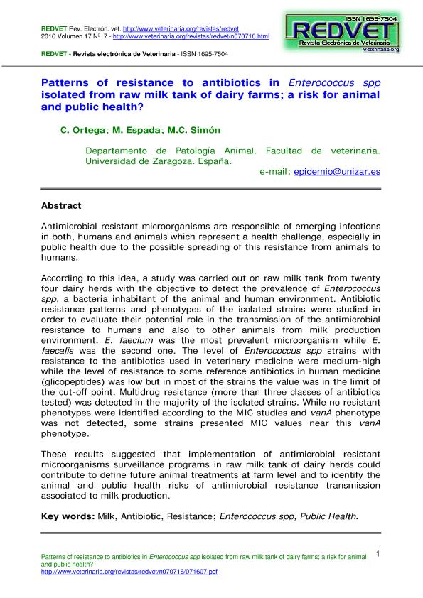 Patterns of resistance to antibiotics in Enterococcus spp isolated from raw milk tank of dairy farms; a risk for animal and public health?