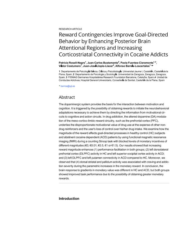Reward contingencies improve goal-directed behavior by enhancing posterior brain attentional regions and increasing corticostriatal connectivity in cocaine addicts