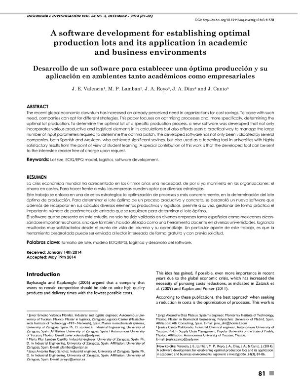 A software development to establishing optimal production lots and its application in academic and business environments