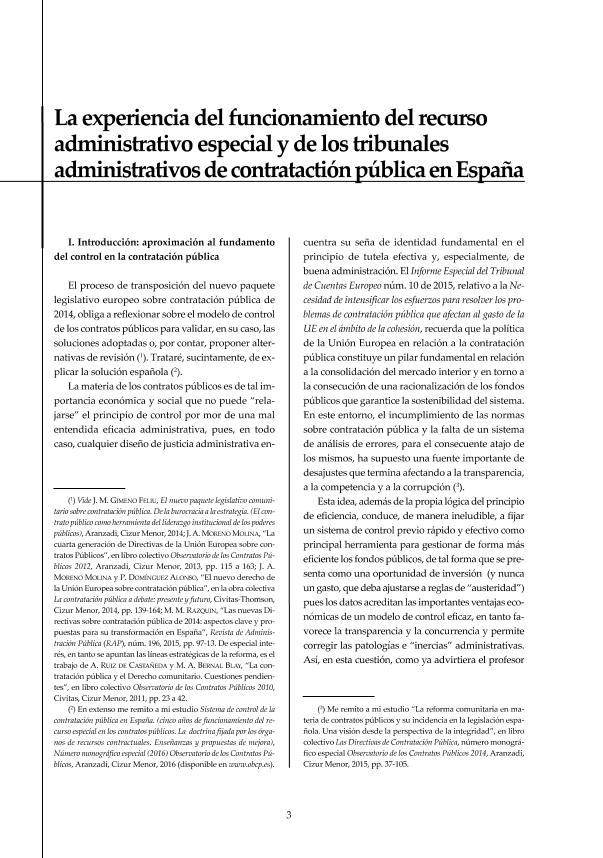 La experiencia del funcionamiento del recurso administrativo especial y de los tribunales administrativos de contratación pública en España