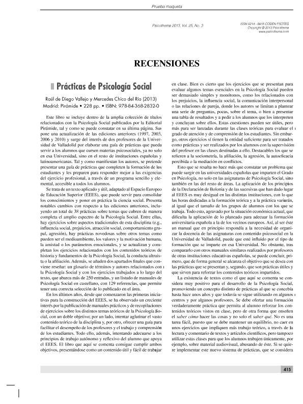 Prácticas de Psicología Social (recensiones)