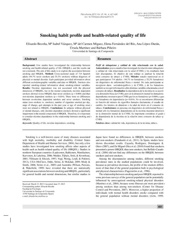 Smoking habit profile and health-related quality of life