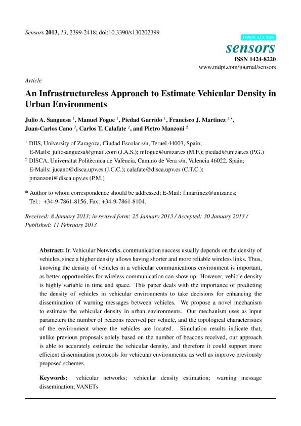An infrastructureless approach to estimate vehicular density in urban environments