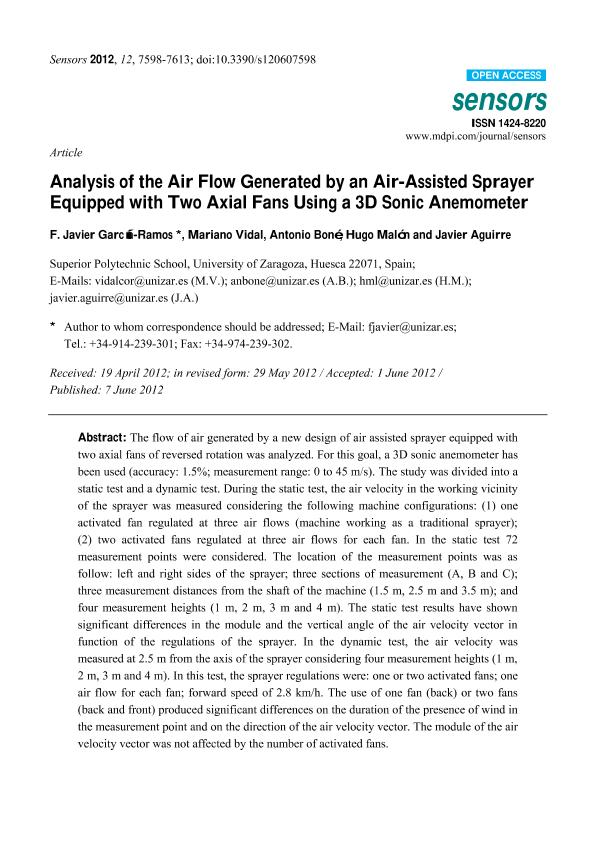 Analysis of the air flow generated by an air-assisted sprayer equipped with two axial fans using a 3D sonic anemometer