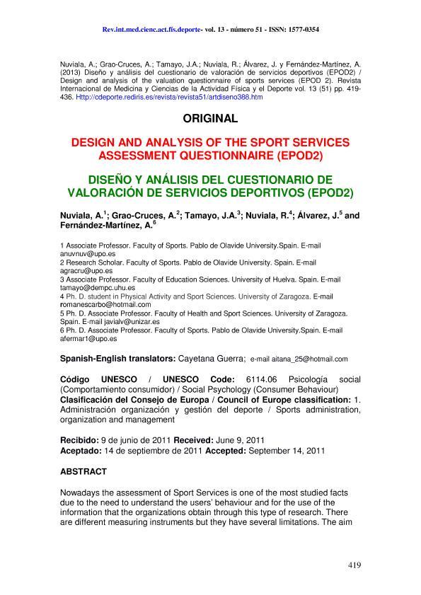 Design and analysis of the valuation questionnaire of sports services (EPOD 2) (Diseño y análisis del cuestionario de valoración de servicios deportivos (EPOD2))
