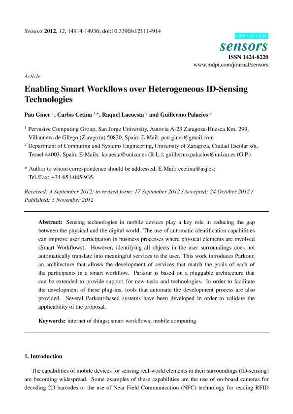 Enabling SmartWorkflows over heterogeneous ID-sensing technologies