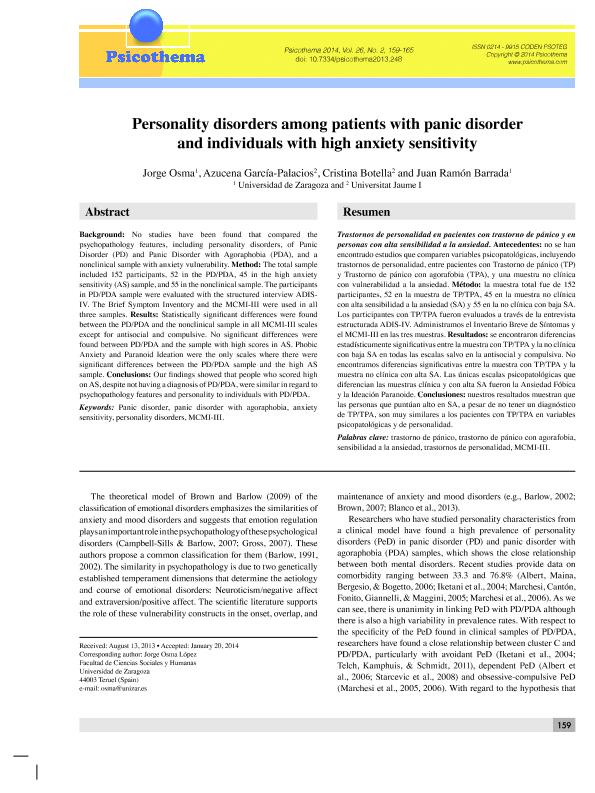 Personality disorders among patients with panic disorder and individuals with high anxiety sensitivity