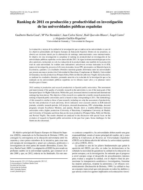 Ranking de 2011 en producción y productividad en investigación de las universidades públicas españolas