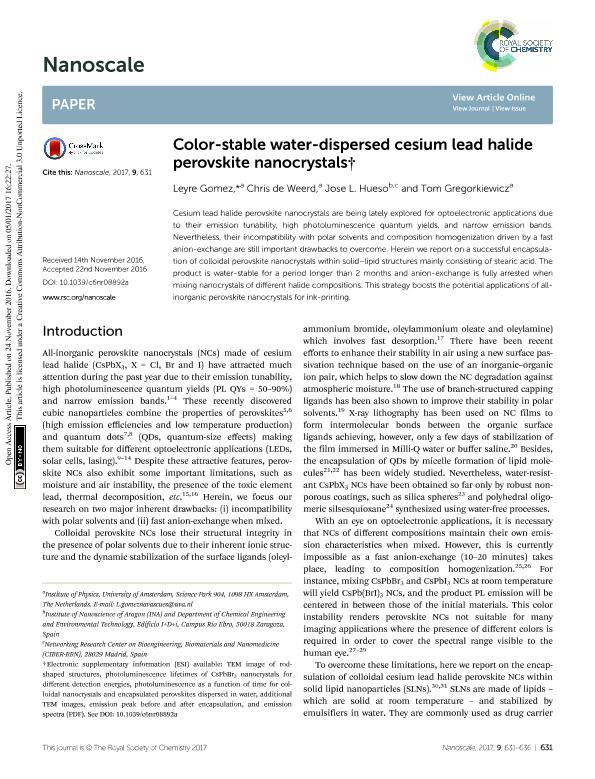 Color-stable water-dispersed cesium lead halide perovskite nanocrystals