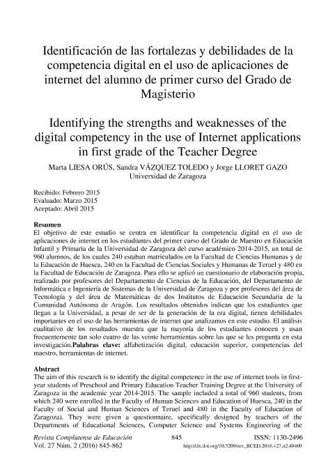 Identificación de las fortalezas y debilidades de la competencia digital en el uso de aplicaciones de internet del alumno de primer curso del Grado de Magisterio