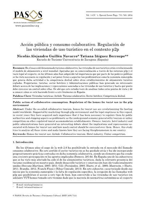 Acción pública y consumo colaborativo. Regulación de las viviendas de uso turístico en el contexto p2p