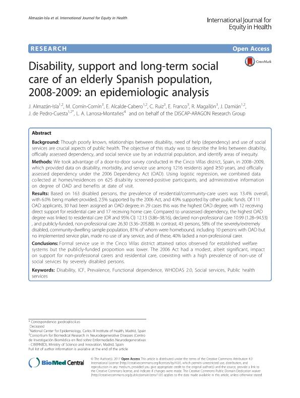 Disability, support and long-term social care of an elderly Spanish population, 2008-2009: An epidemiologic analysis