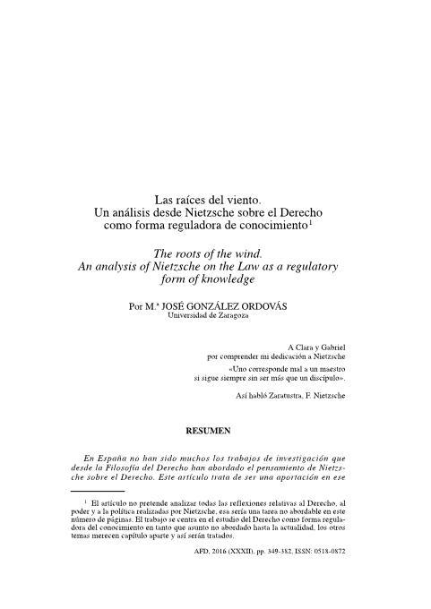 Las raíces del viento. Un análisis desde Nietzsche sobre el Derecho como  forma reguladora de conociemiento