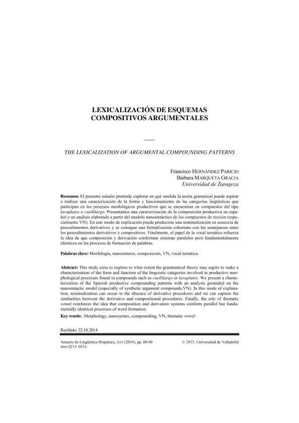 Lexicalización de esquemas compositivos productivos