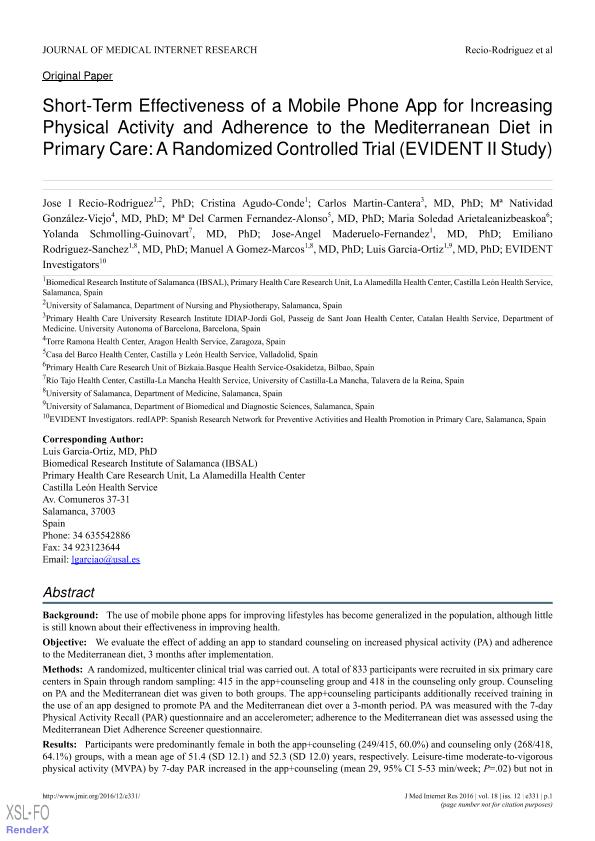 Short-term effectiveness of a mobile phone app for increasing physical activity and adherence to the mediterranean diet in primary care: A randomized controlled trial (EVIDENT II study)